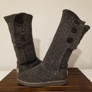 UGG Classic Cardy Button Boots Grey 9